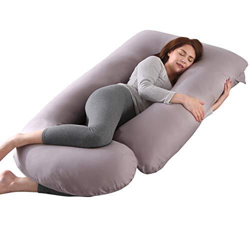 Oreiller de grossesse, oreiller de soutien de maternité Oreiller de corps complet Support de mise à niveau pour le dos, les hanches, les jambes et le ventre pour les femmes enceintes (Gris Clair)