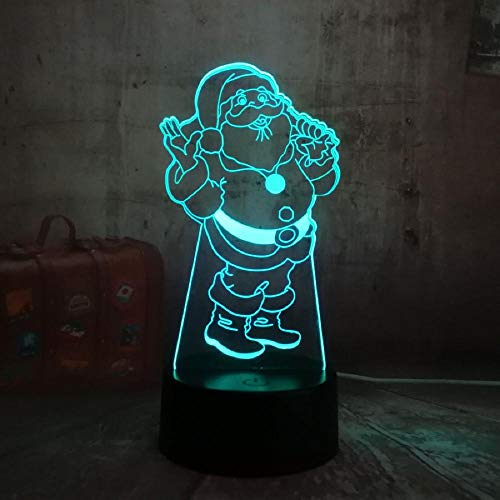 Cute Santa Claus 3D LED Night Lights USB Touch Home Decro Table Desk Lamp Christmas Gift for Kids Bluetooth