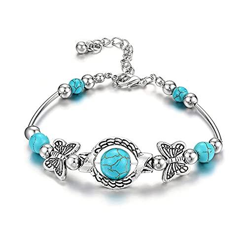 Pareja amistad pulsera de estilo étnico retro, pulseras de mariposa talladas, para mujeres pulseras de liquidación, regalos para familiares (2PCS)