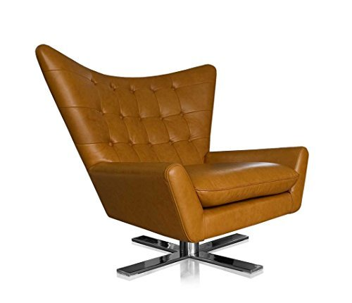 NEUERRAUM Drehbarer V-förmiger Echtleder Ohrensessel Fernsehsessel Armlehnsessel Lounge Sessel. Abbildung in Leder Hellbraun.