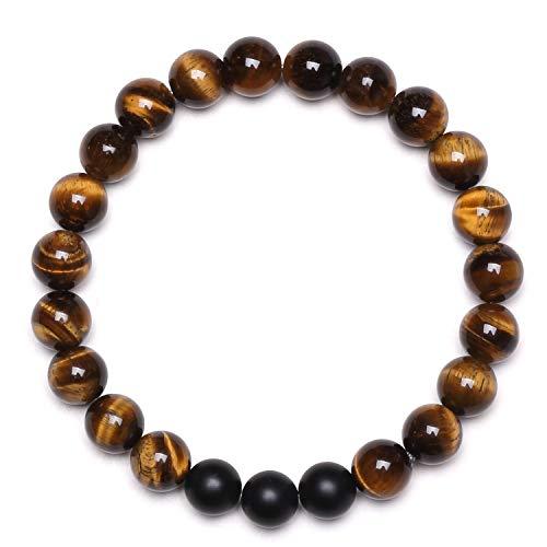 J.Fée Beads Bracelet, Natural Stone Bracelet for Women Crystal Bracelet for Healing Gemstone Bracelet for Calming Anxiety Bracelet for Prosperity Tiger Eye Black Matte Onyx Bracelet Birthday Gift