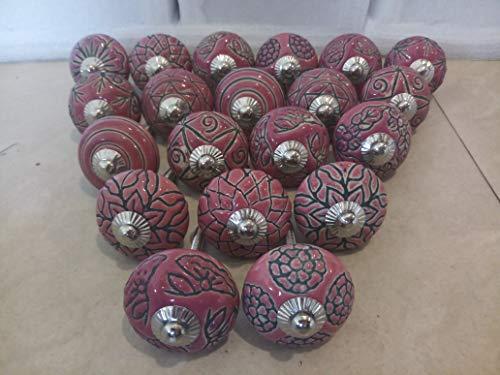 Knobsworld Pomelli in ceramica, stile vintage, fantasie miste, per porte, armadietti, cassetti, confezione da 20, color rosa