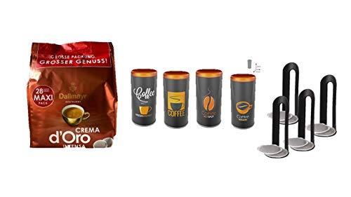 Dallmayr KaffeePads 28 Stück + James Premium 4X Kaffeepad-Dose, Dekodose, Verschiedene Dekore, OR Aufbewahrungsbehälter für Kaffeepads