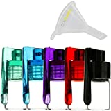 5 Pack Bundle | Premium 3g Spoon Snuff Bullet Spices and Sweetener Portable Travel Storage (Glass and Acrylic) with ConClarity Micro Funnel - Assorted Colors