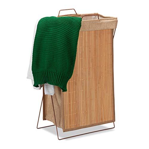 Relaxdays cesto ropa sucia, plegable, marco de metal con asas, cesto para la colada, 40 l, 61x38x22 cm.