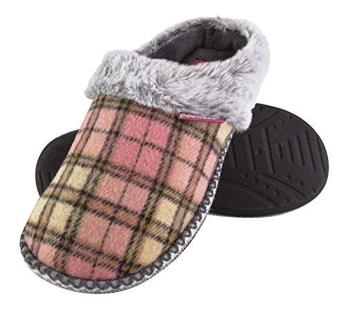 Dunlop - Damen Niedlich Kuschelig Memory Foam Plüsch Hausschuhe Pantoletten mit Kariet und Leopardmuster Motiv (41 EU, Caroline)