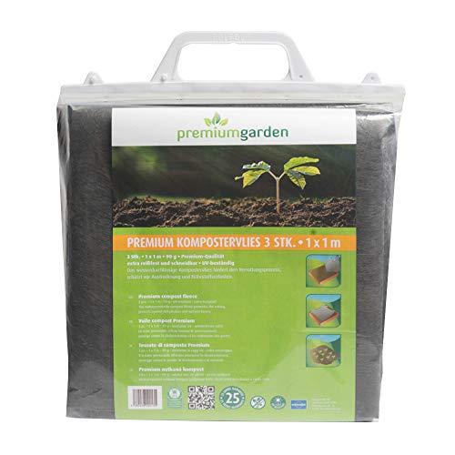 3er Pack Premium Kompostervlies, 1m x 1m, (90g/m²), fördert den Verrottungsprozess, vermindert die Austrocknung und den Nährstoffverlust