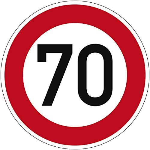 Verkehrszeichen Zulässige Höchstgeschwindigkeit 70 Nr. 274-70 | Ø 420mm, Alu 2mm, RA1 | Original Verkehrsschild nach StVO mit RAL Gütezeichen | Dreifke®