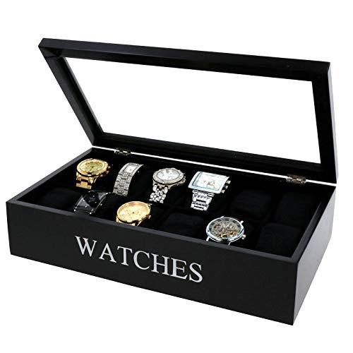 Uhrenbox mit 12 Fächern Uhrenkoffer Uhrenkasten 34x20,5 Glasfenster Samt Innenfutter Uhren