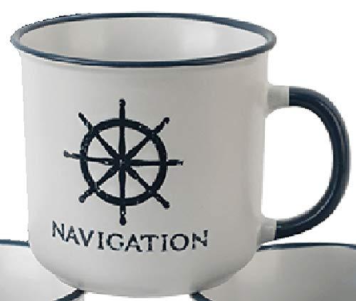 osters muschel-sammler-shop Kaffeebecher-Tasse maritim - Keramik ┼ 400ml ┼ Teebecher ┼ Strandtasse-Becher ┼ Geschenk-Artikel (Weiss mit Steuerrad)