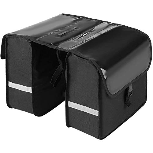 CXD 28L Waterproof Bicycle Rear Seat Porter, Comfortable And Practical Luggage Rack Panniers Bike Commuter Bag Pannier with Reflective Tape Fastening Straps,1