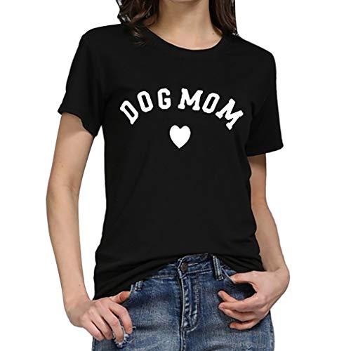 Rawdah* T-Shirt à Manches Courtes Décontracté Haut en Coton Simple Polyvalent Mode Femmes Ample Manches Courtes Imprimé T-Shirt Décontracté O-Cou Top