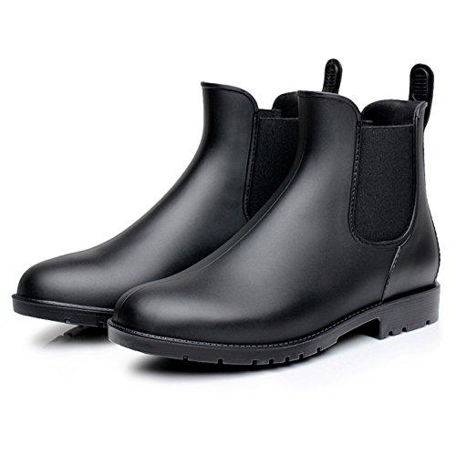 Zkyo Damen Gummistiefel Herren Kurz Regenstiefel mit Blockabsatz Chelsea Boots Rutschfeste Ankle Stiefeletten Schwarz Größe 42