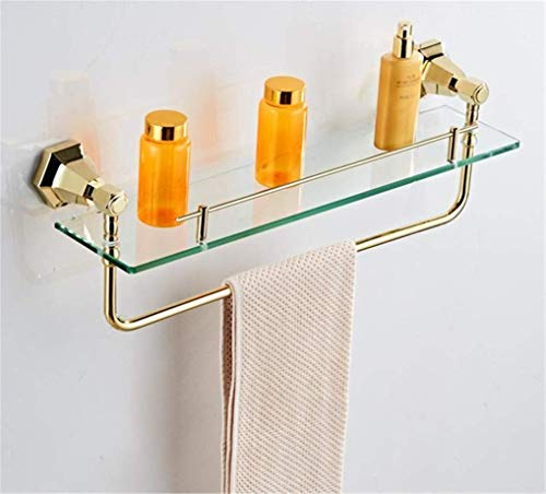 Bathroom Towel Rack, Wall-Mounted European Style Bathroom Hardware Set Wall Mounted Chrome Finish Towel Rack Set Wall Mounted Bathroom Accessories Set Solid Brass,Glass Shelf XYXG (Color : As Shown)