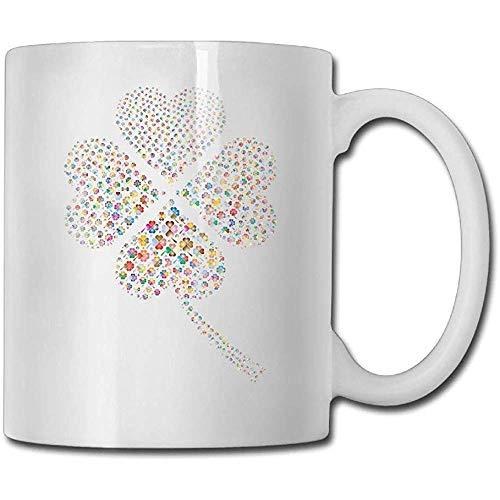 Tazza da caffè multicolore quadrifoglio 11 Oz novità femminile Tazza da tè Un regalo perfetto per la tua famiglia e i tuoi amici