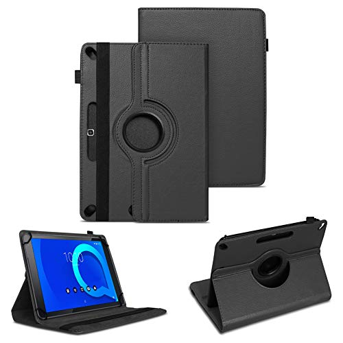 NAUC Tablet Tasche kompatibel für Alcatel 3T 10 Zoll Schutzhülle Universal Kunst-Leder Hülle Standfunktion 360 Drehbar Cover Hülle, Farben:Schwarz