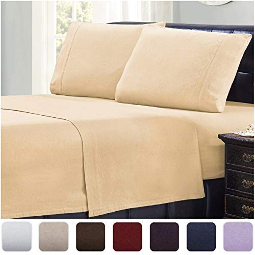 Mellanni 100% Cotton Flannel Sheet Set - Lightweight 4 pc Luxury Bed Sheets - Cozy, Soft, Warm, Breathable Bedding - Deep Pockets - All Around Elastic (King, Beige)