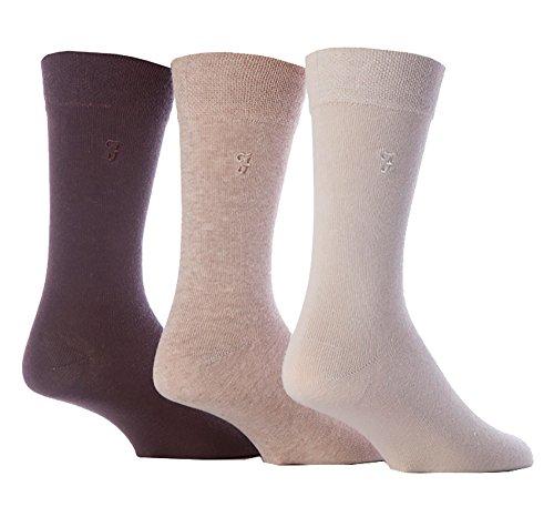 FARAH® - 3 Paar Herren Farbig Bunt Muster Luxus Atmungsaktive Gestreift Herrensocken Baumwolle Reich Formale Casual Socken (39-45 EU, CS34BRN (Plain))