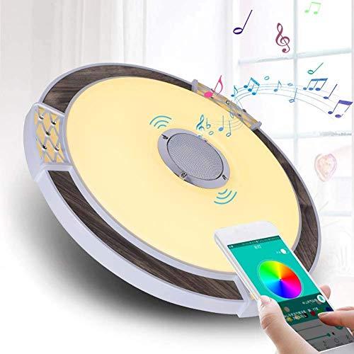 NZDY Luz de techo de música LED perfecta con altavoz de 30 W, altavoz de alta calidad de sonido, 40 cm, moderna lámpara de techo de montaje empotrado redonda regulable – RGB que cambia de color