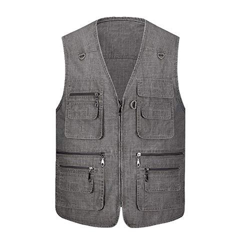 U/A Gilet de pêche multi-poches pour homme Printemps et été - - XL
