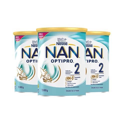NAN - Optipro 2 Leche de continuación en polvo, 3 latas x 800 g