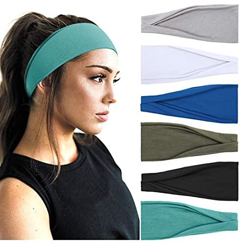 Huachi Women's Yoga Running Headbands Sports Workout Hair Bands 6 Pack