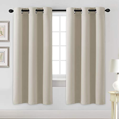 H.VERSAILTEX Blackout Curtains for Bedroom Thermal Insulated Room Darkening Living Room Curtains 72 Inch Long Grommet Privacy Protection Window Curtain Panels/Drapes for Nursery, 2 Panels, Cream