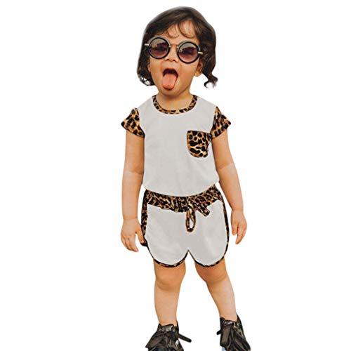 LEXUPE Kleinkind Kinder Baby Mädchen Leopardenmuster T-Shirt Shorts Outfits Set Sportkleidung(Weiß,90)