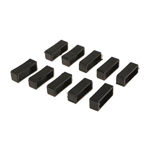 10 Stücke Schwarze Gummischlaufen Uhrenzubehör Schnallenhalter für Unisex Uhren - Schwarz, 20mm