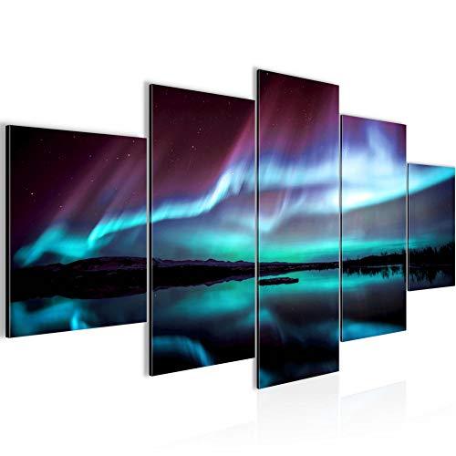 Runa Art - Bilder Polarlicht 200 x 100 cm 5 Teilig XXL Wanddekoration Design Türkis Lila 609151b