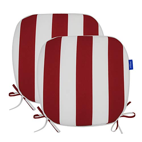 Outdoor Chair Pads Seat Cushions U Shape Home Chair Cushion for Garden Patio, Set of 2 (17' X 16', Red Stripe)