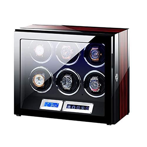 Cajón para Guardar Relojes y Joyas Winder Automatic Winder LCD Pantalla táctil con Control Remoto y luz LED Pintura Pintura Exterior Motor Salida Estuche de Almacenamiento de Lujo (Size : 6+0)