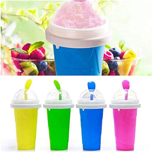Frozen Magic Slushy Maker Squeeze Cup, Tini Fast Cooling Ice Cream Slushy Maker, DIY Homemade Smoothie Cups Freeze Drinks Cup Double Layer Summer Juice Ice Cream Cup for Children Gift (Pink)