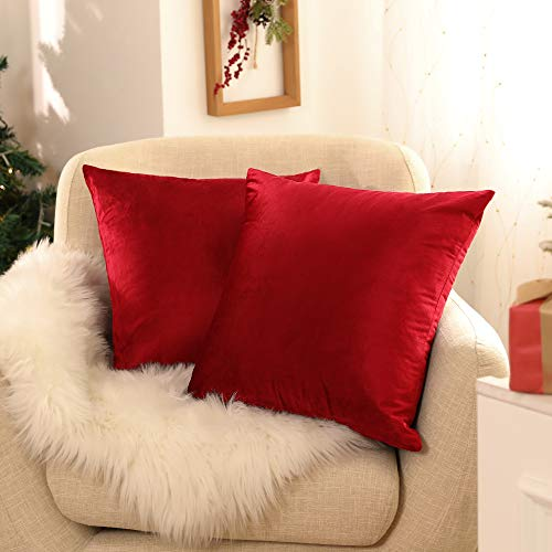 Deconovo Set of 2 Square Crushed Velvet Cushion Covers 50cm x 50cm 20x20 Inches Throw Pillow Cases Cushion Covers for Christmas with Invisible Zipper Red