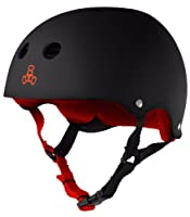 Triple Eight Sweatsaver Liner Skateboarding Helmet, Black Rubber w/ Red, Small