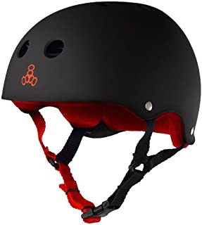 Triple Eight Sweatsaver Liner Skateboarding Helmet, Black Rubber w/ Red, Medium