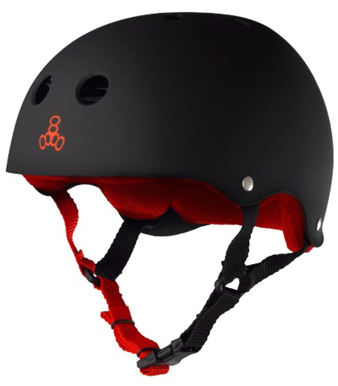 Triple 8 Sweatsaver Liner Skateboarding Helmet, Black Rubber w/ Red, M