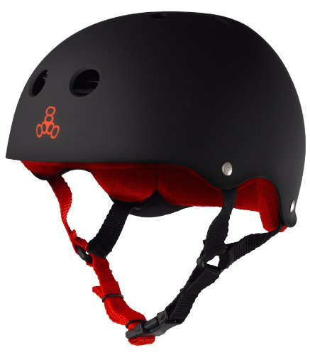 Triple Eight Sweatsaver Liner Skateboarding Helmet, Black Rubber w/ Red, Large