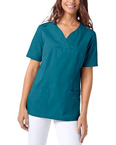 CLINIC DRESS Schlupfkasack Damen Kasack für die Pflege 1/2 Arm Regular Fit 50% Baumwolle 95 Grad Wäsche Petrol M