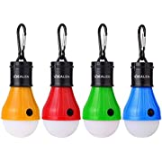 Vdealen LED Tent Lantern Lamp Emergency Light Battery Powered Waterproof Portable Bulb for Hiking Fishing Camping Household Car Repairing (4 Pack) (Yellow+red+Green+Blue)