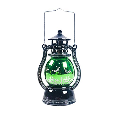 Flamme Glühbirne Tragbar Laterne Kleine Glühbirne Dekoration Geschenk für Kinder Kleine Öllampe der Halloween Verzierung, die Retro Lichtfeiertagspartyatmosphäre hängt (Grün)