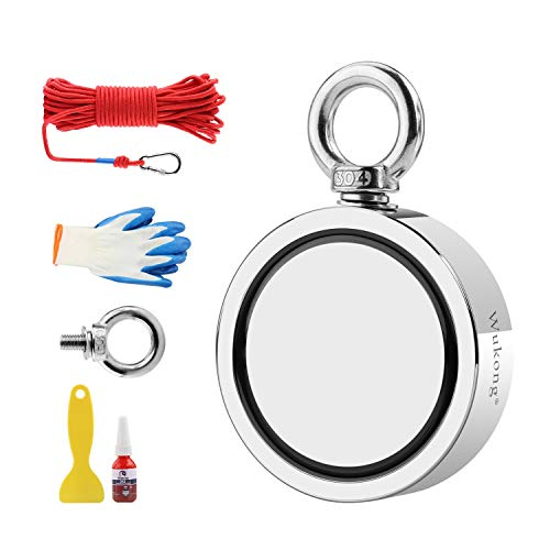Fishing Magnet with 66ft Rope Bundle Pack, Wukong 1700 LB Pulling Force Super Strong Neodymium Magnet with Heavy Duty Rope & Carabiner for Magnet Fishing and Retrieving in River - 3.7' Diameter