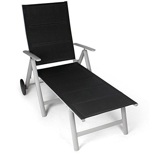 Vanage gepolsterte Alu Sonnenliege in schwarz - Gartenliege mit 2 Rädern - Liegestuhl ist klappbar - Gartenmöbel - Strandliege aus Aluminium - Relaxliege für Garten, Terrasse und Balkon