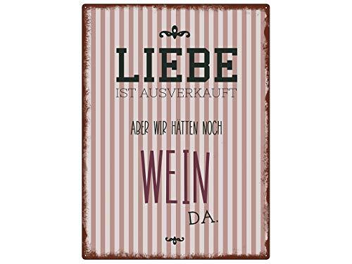 Interluxe WANDSCHILD metalen bord Liefde IS VERKOOP wijn Vinotheek wijnbar wijndrinker cadeau-idee