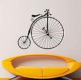 Calcomanía de bicicleta antigua Hipster Etiqueta de vinilo de pared Sport Bike Home Dormitorio Decoración Murales Retro Ruedas grandes Decoraciones de bicicleta 66X57Cm
