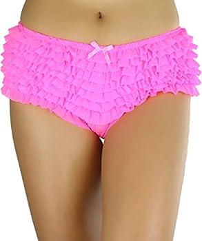 ToBeInStyle Women's Chiffon Ruffle Lace Trim Polyester Blend Booty Shorts Neon Pink