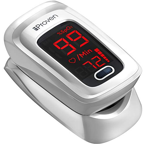 iProven Pulse Oximeter with Heart Rate Monitor on Fingertip, Oxygen Saturation Oximeter, Includes Batteries, Case and Lanyard (White)
