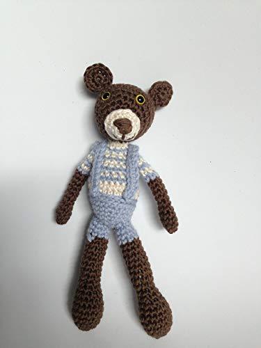 Muñeco oso amigurumi en rosa para niños y mayores, hecho a mano.