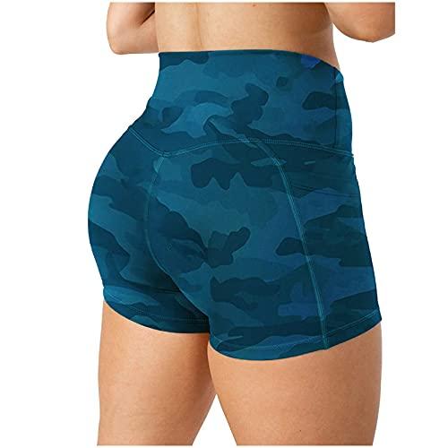 GenericBrands Leggings Yoga Mallas de Patrón Texturizado Mujer Pantalones Cortos Impresión Butt Lifter Deportivos Leggings Transpirables Elásticos Camo Yoga Shorts