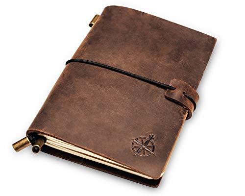 Mini Reisetagebuch aus Leder in Reisepassgröße 12,5x9cm | Kleines Notizbuch, Perfekt zum Schreiben, Ideen sammeln, Tagebuch schreiben und Skizzieren. Notebook mit blanko Papier, nachfüllbar.